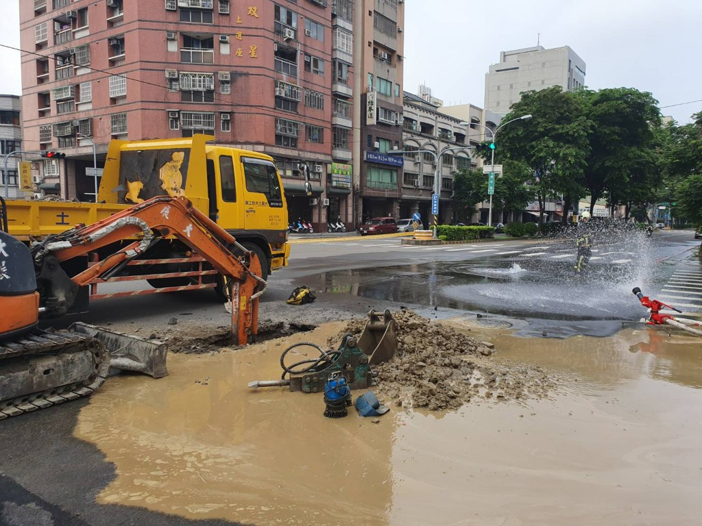Burst gas and water pipes in Taichung.