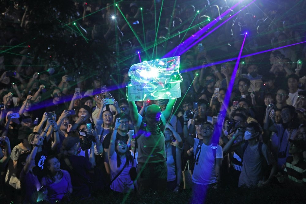 Protesters in Hong Kong using laser pens Wednesday August 7.