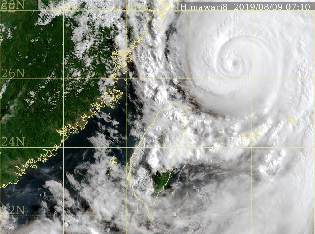 NOAA map of Typhoon Lekima.
