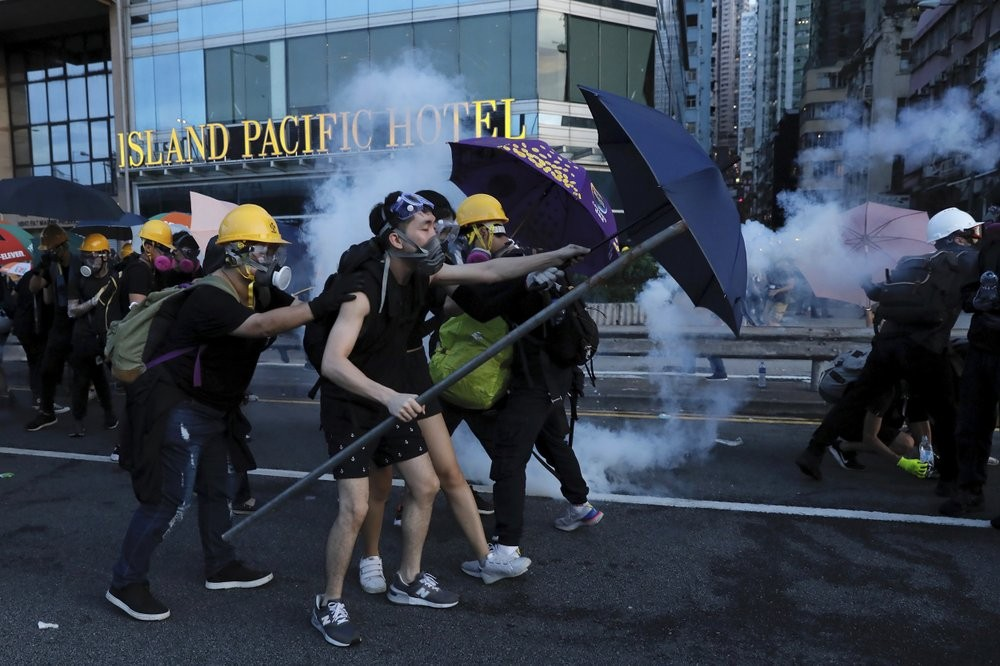 Young pro-democracy protesters in Hong Kong