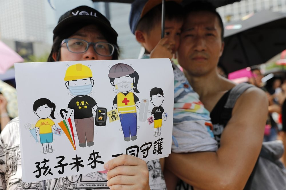 'Our children's future, let's protect together' - protesters gathering in Hong Kong Saturday August 10.