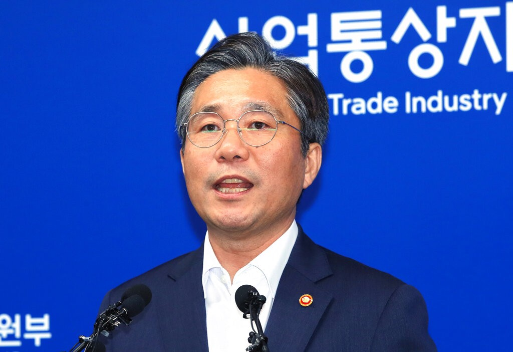 South Korean Trade Minister Sung Yun-mo speaks during a press conference at the government complex in Sejong, South Korea, Monday, Aug. 12, 2019.