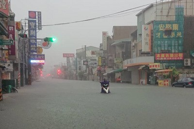 Heavy rain has caused flooding in Tainan City (Source: CNA)
