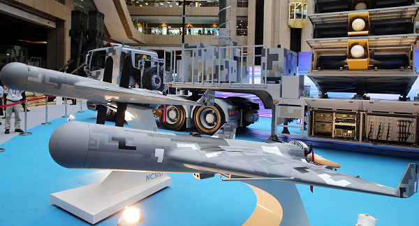 NCSIST Jian Xiang drone and launch platform at Taipei Aerospace and Defense Exhibition, Aug. 15