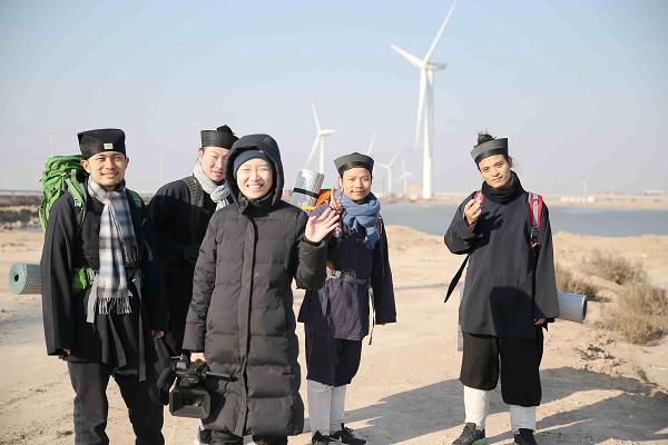 Documentary Director Zhu Yu with four Taoist priests