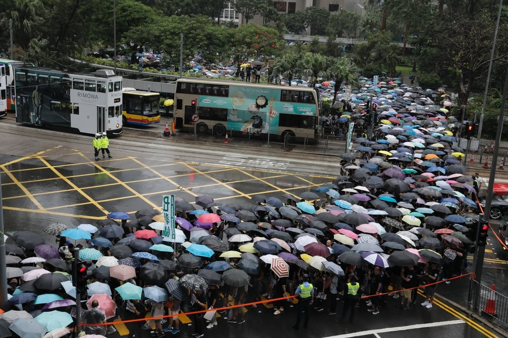 Protesters in Hong Kong Saturday August 17.