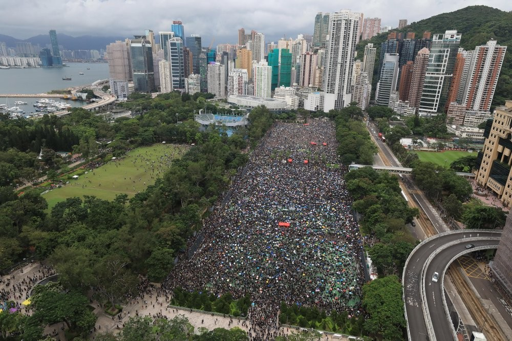 Demonstrators converge at Victoria Park in Hong Kong, Aug. 18