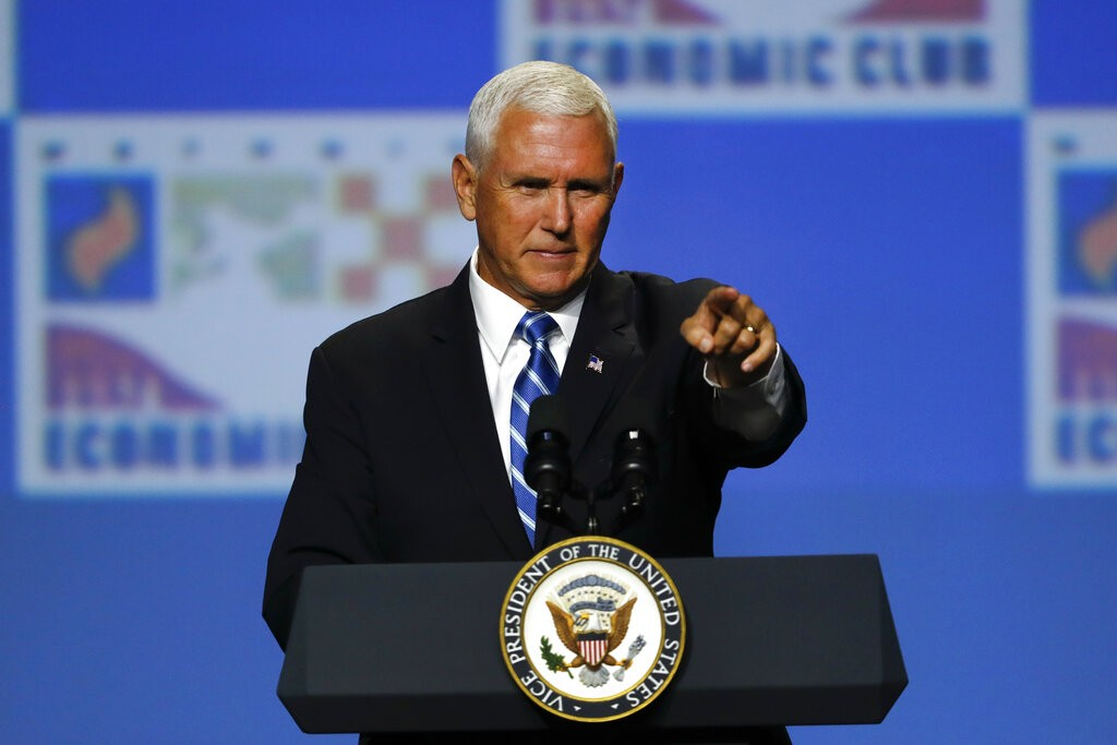 US Vice President Mike Pence at Detroit Economic Club