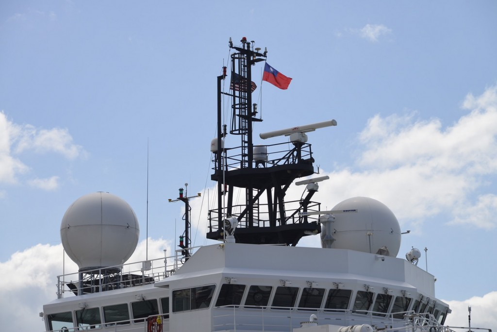 R/V Sally Ride flying Taiwan flag in port at Keelung (Photo fro Imgur, Aug. 22)
