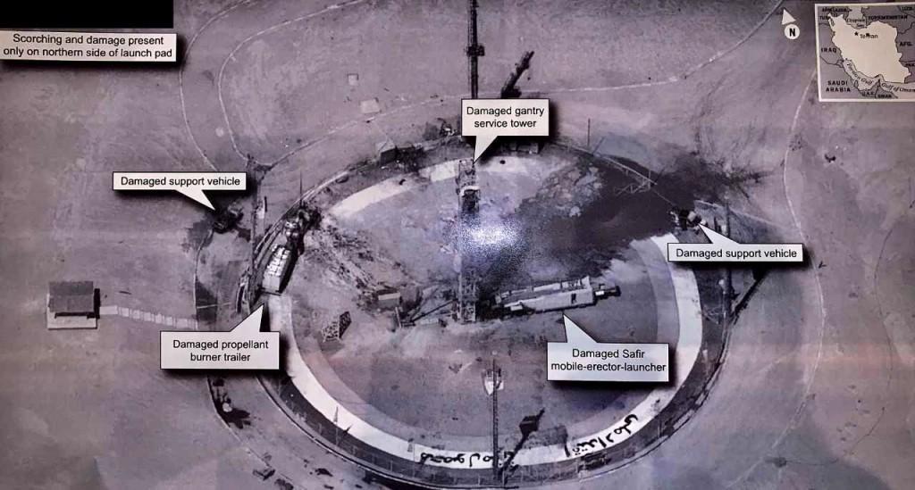 伊朗火箭發射意外衛星影像(圖/Donald Trump 推特)