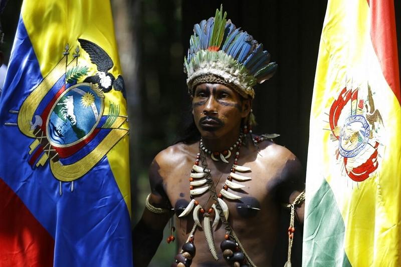 哥倫比亞七國峰會原住民代表(AP)