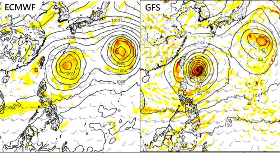 ECMWF model (left), GFS model (right). (Maps from Tropical Tidbits)