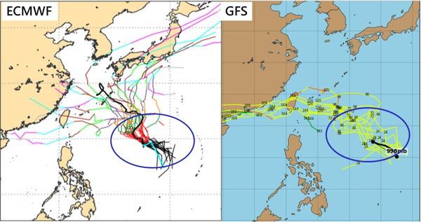 ECMWF map of models (left), GFS map of models (right).