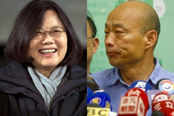 Tsai (left, AP photo), Han (right, CNA photo).