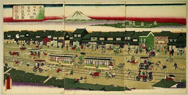 """Horsecar between Nihonbashi and Kyobashi in Tokyo"" by Kurenai Eisai (1882)."