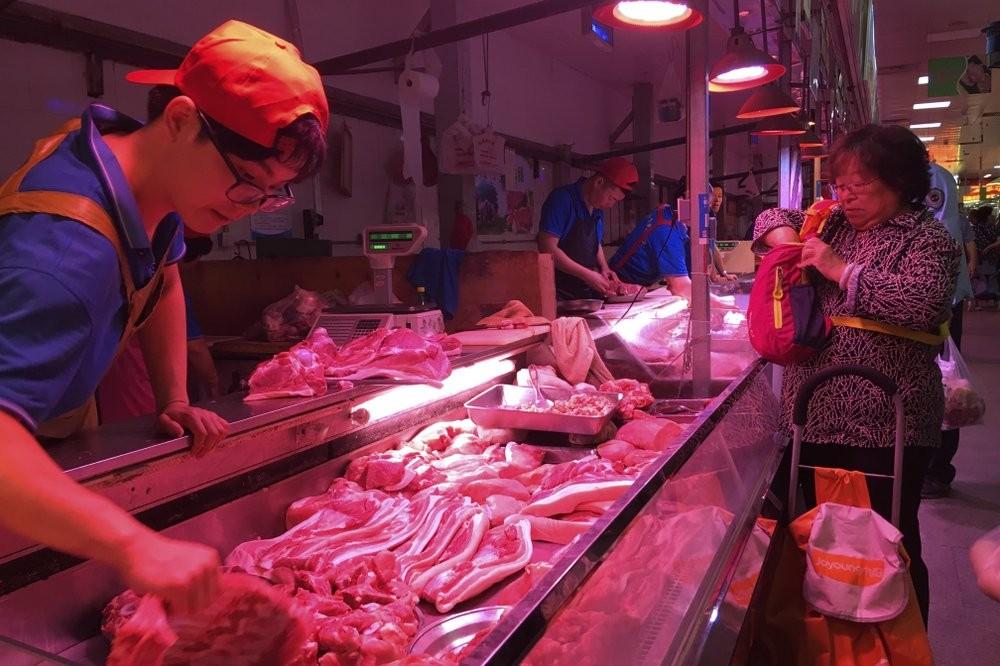 Pork at a meat market in Beijing.