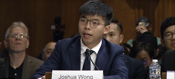 Joshua Wong testifies in Washington D.C. Sept. 17 (Taken from Congressional-Executive Commission on China livestream)