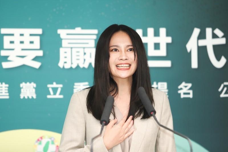 賴品妤(圖)昨在記者會上慷慨激昂 (中央社)