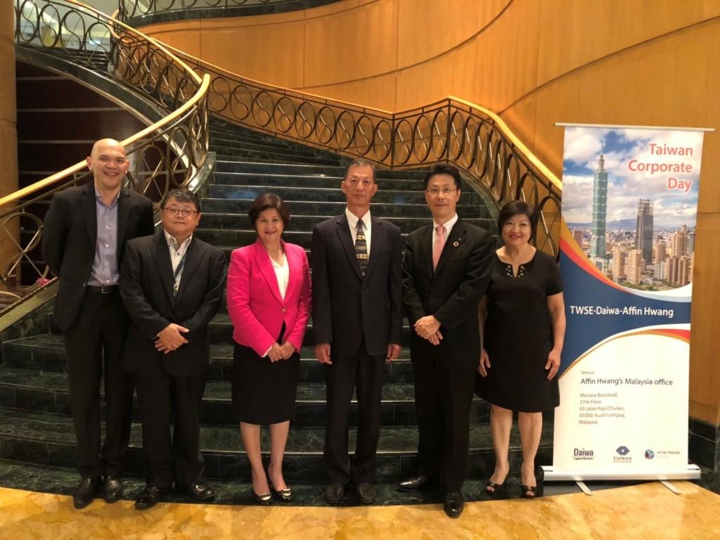 圖說:臺灣證券交易所單高年經理(右三)、大和證券亞太區主席岡 裕則(右二)、及Affin Hwang執行總裁Datuk Maimoonah