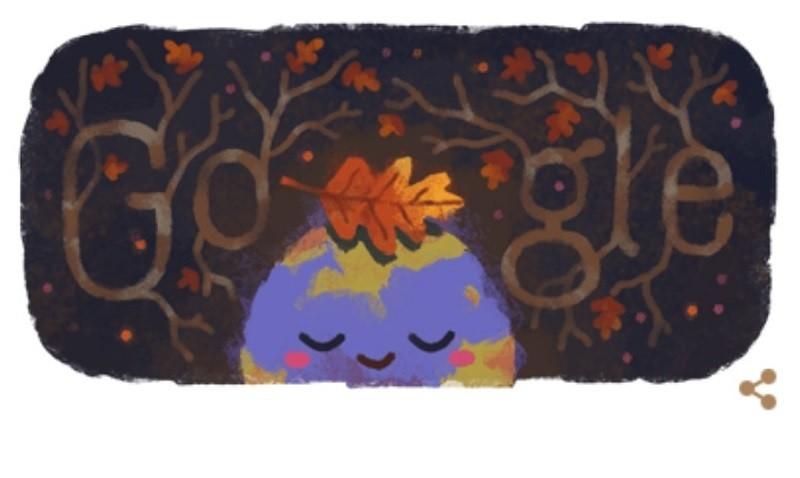 Google首頁23日的塗鴉, 是可愛的「秋分」圖案。
