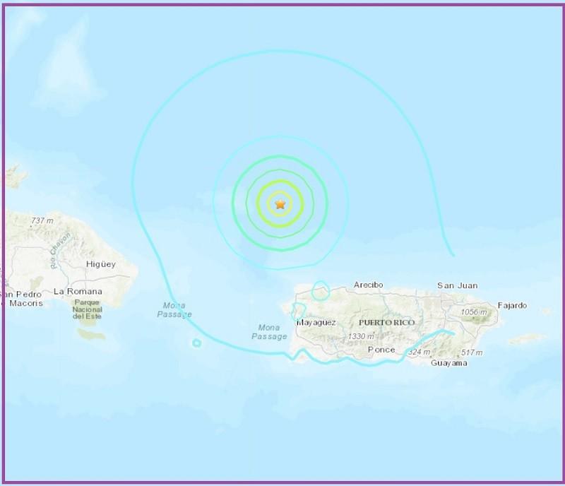 圖中橘色星星, 即波多黎各6.0地震震央位置 (來源: USGS)