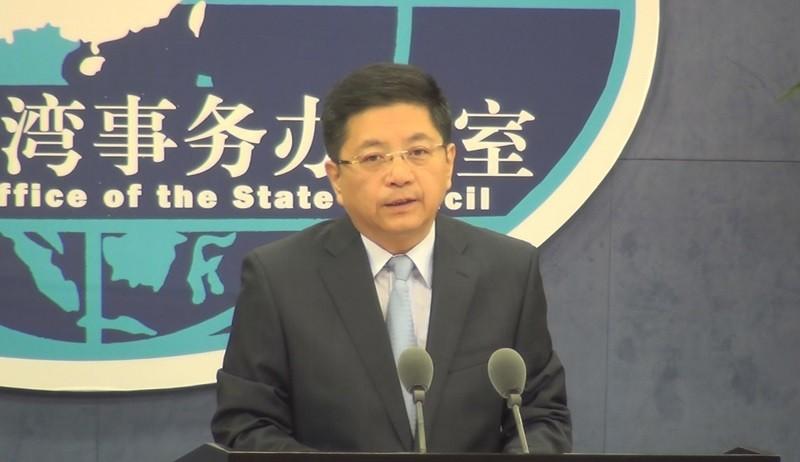圖為9月25日國台辦發言人馬曉光(圖), 舉行記者會情形 (中央社)
