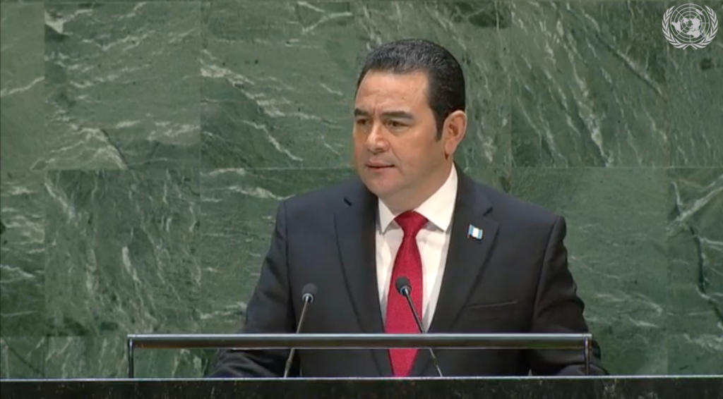 Guatemalan President Jimmy Morales addresses UN's general debate on Sept. 25 (Screen capture from UN Web TV)