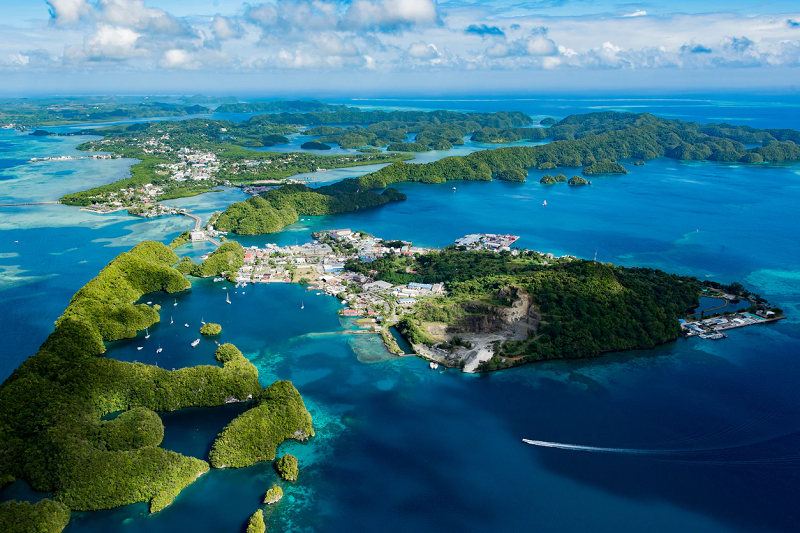 Aerial view of Koror, Palau (Stock photo)