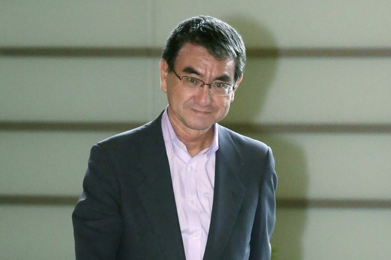 Japan's Defense Minister Taro Kono (AP photo)