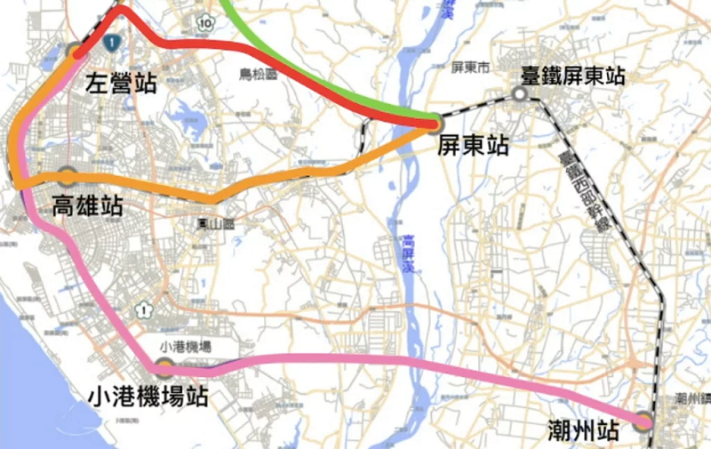 Map of proposed THSR extension routes, MOTC selected the Red Line (Image from Executive Yuan)