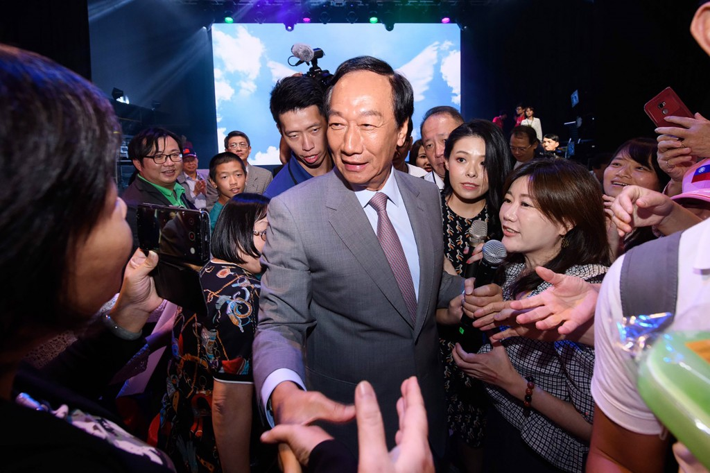 Foxconn founder Terry Gou meeting supporters at a Taipei event last week.