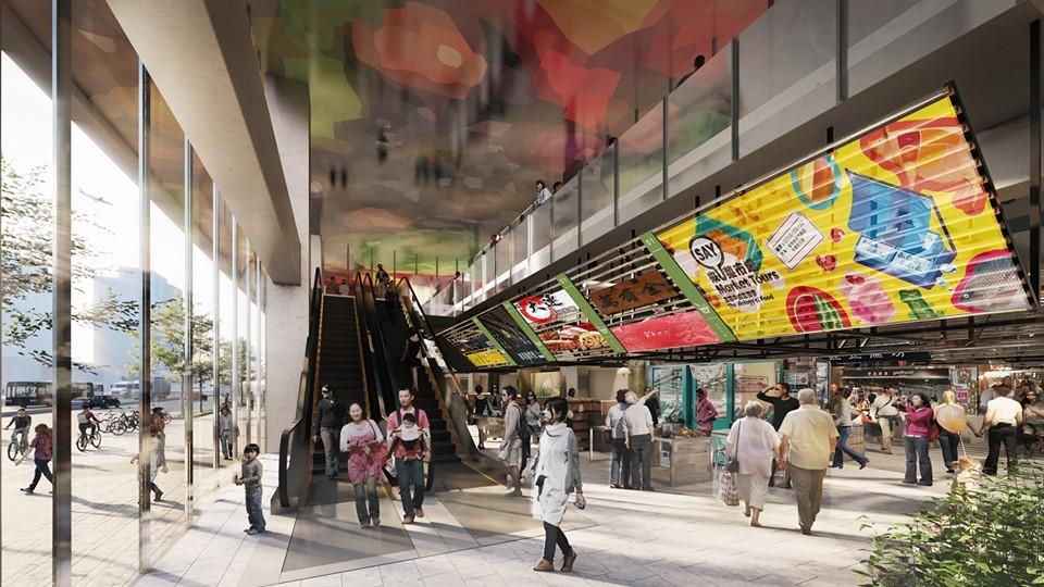 圖為新南門市場建築圖,老攤位結合奢華風,創造視覺與味覺上的衝突。(圖/台北市產業局臉書)