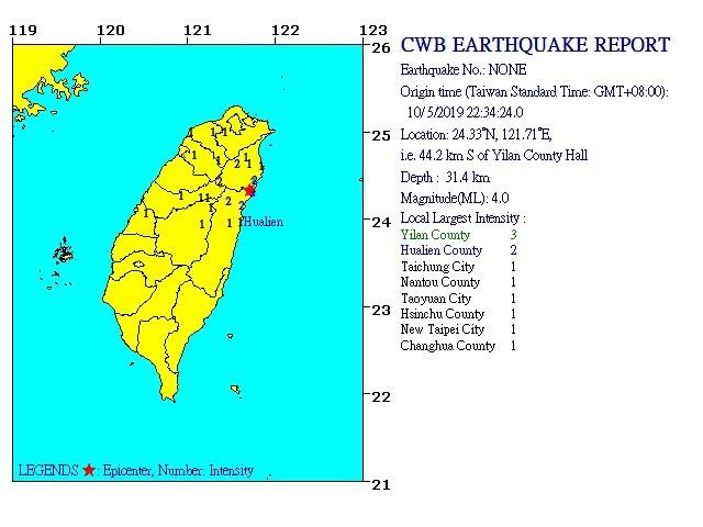 CWB map of quake