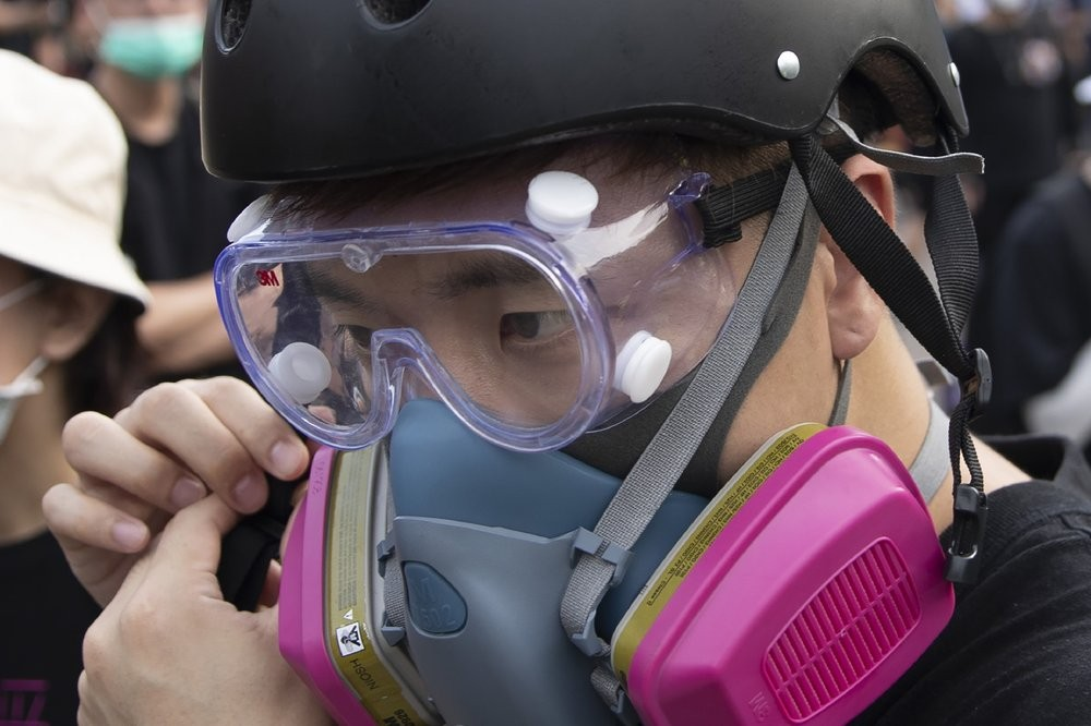 File photo: Hong Kong protester with face covered