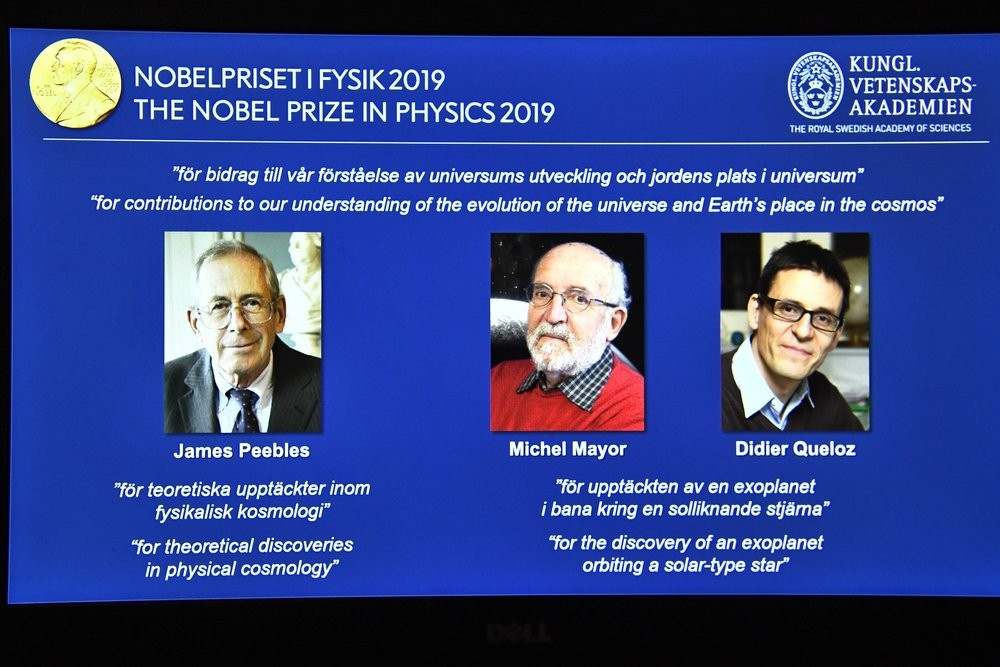 Nobel Prize for Physics winners James Peebles, Michel Mayor and Didier Queloz (from left to right).