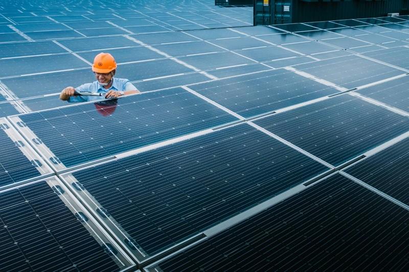 Solar farm at Changhua Coastal Industrial Park (Taipower photo)