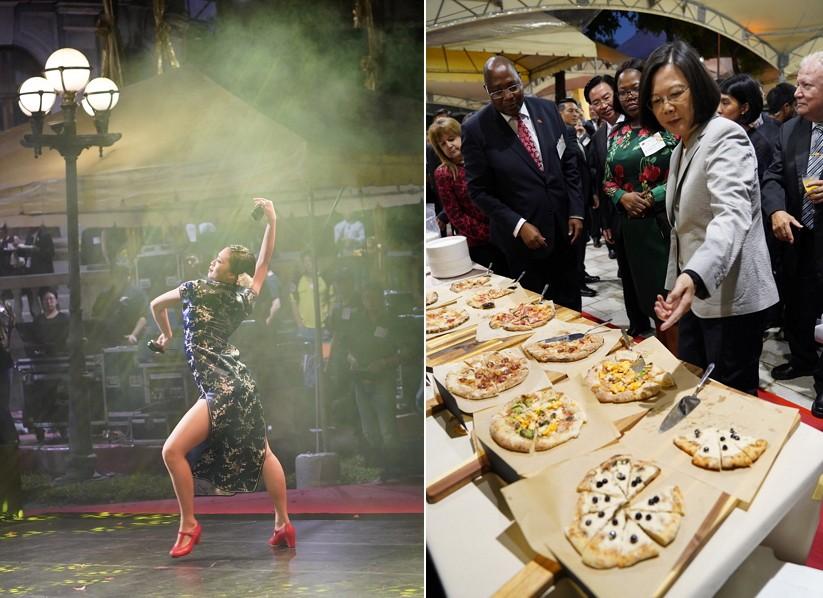 國慶酒會佛朗明哥舞表演(左)、蔡英文介紹創意餐點