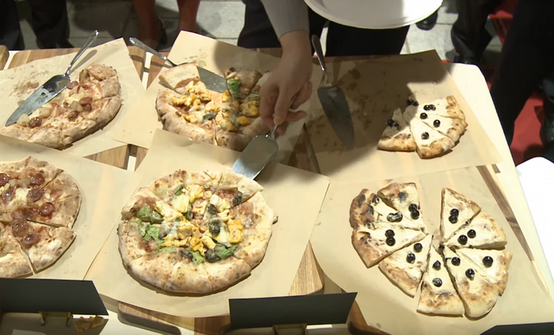 Bubble milk tea and oyster omelet pizzas (Office of President screengrab)