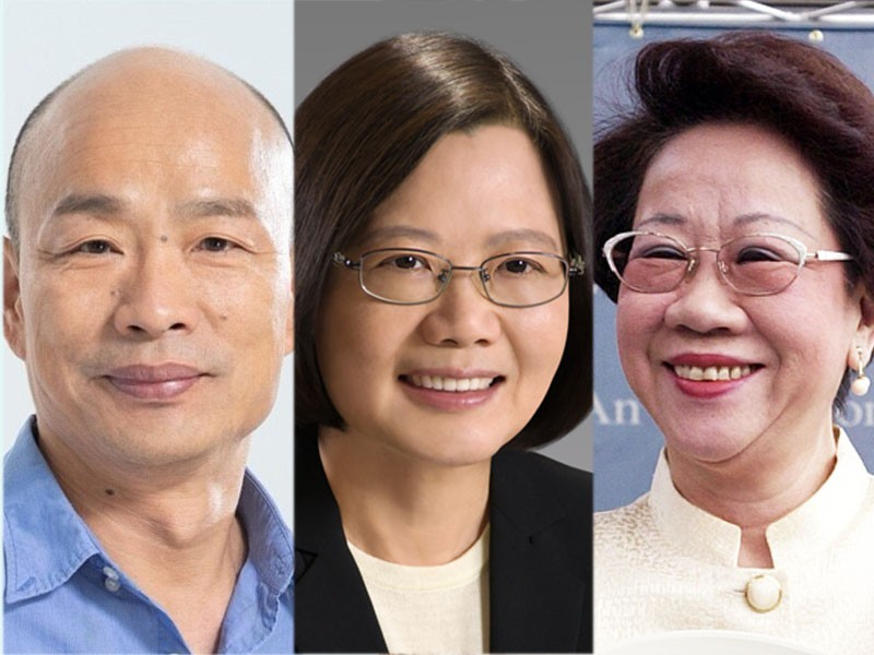 Presidential candidates: Han Kuo-yu, Tsai Ing-wen, and Annette Lu