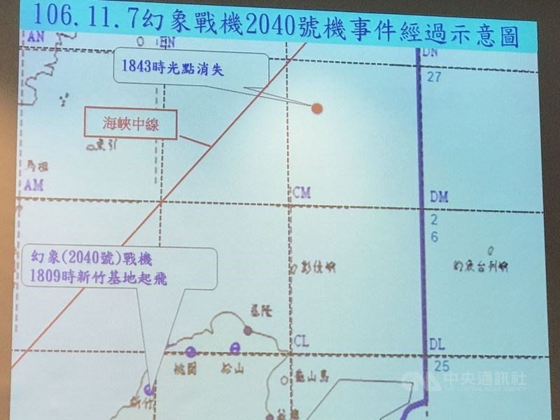The map with the location of the Mirage's disappearance (red dot at top, east of the Taiwan Strait middle line).