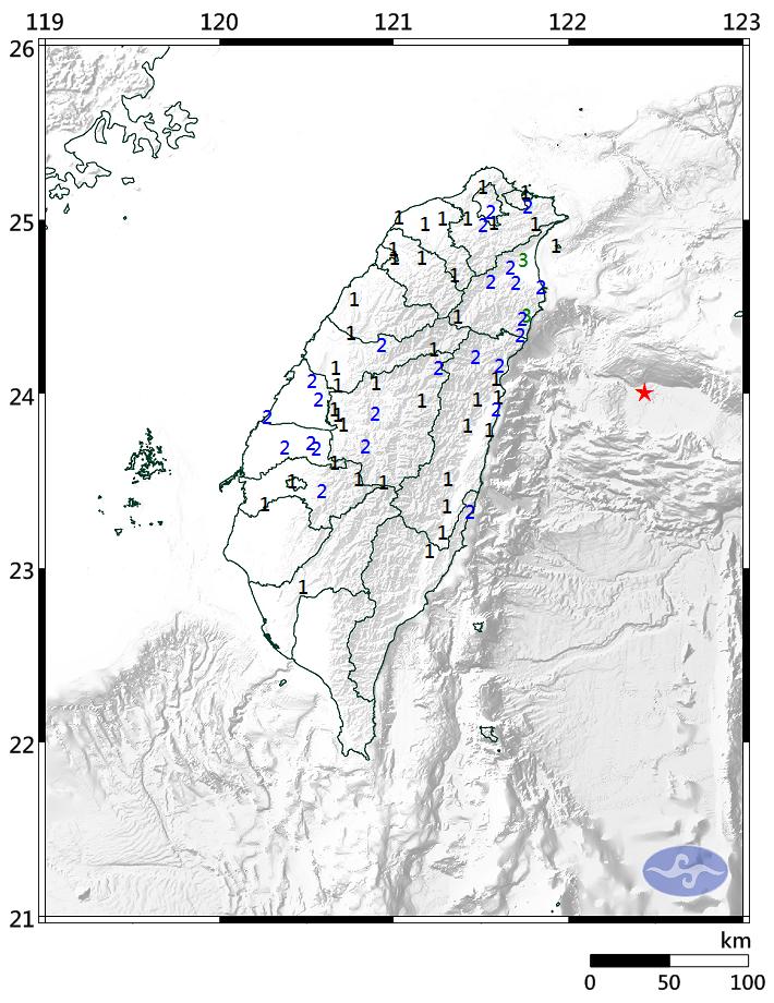 A 5.4 earthquake struck off Taiwan's east coast Thursday evening (image courtesy of the Central Weather Bureau).