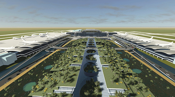 Aerial view of proposed  design for Terminal 3 (Photo from Taoyuan Int'l Airport)