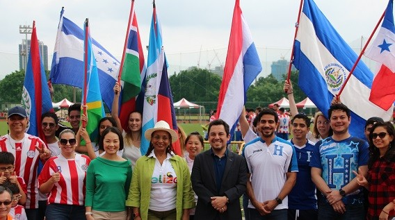 Belize Amb. Haylock (center left), Guatemala Amb. Gomez (center right). (Taiwan News Photo)