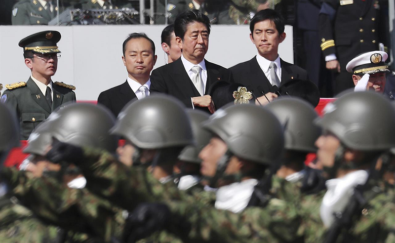 File photo: Japanese Prime Minister Shinzo Abe reviews JSDF soldiers, October 2016