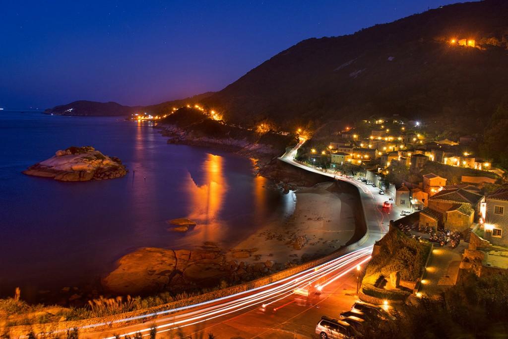 Night view of Qinbi Village, Lienchiang County (photo from Taiwan Tourism Bureau)