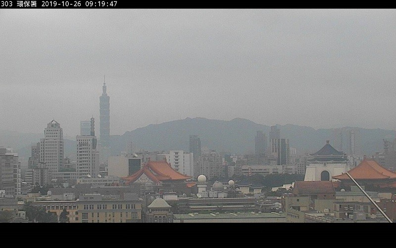 圖為26日上午9:19監測到的台北市空氣品質影像 (環保署官網)