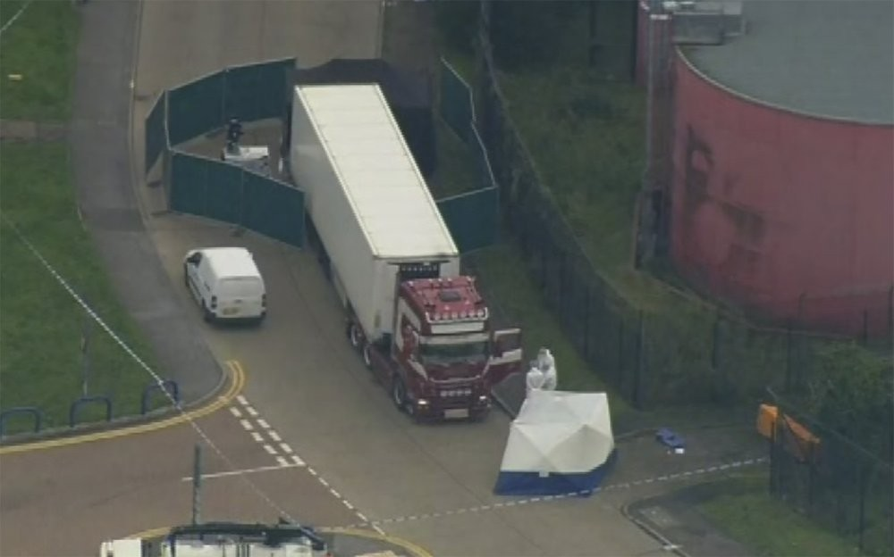 Truck in Essex, England discovered on Oct. 23 with bodies of 39 migrants (AP photo)