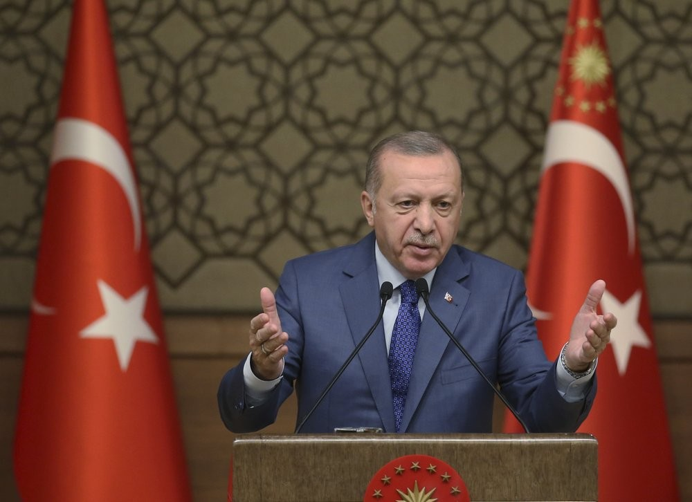Turkish President Erdogan makes an address from Presidential Office, Oct. 24 (AP photo)