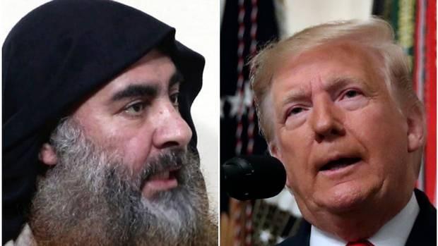美國總統川普(Donald Trump,圖右)證實ISIS首腦Abu Bakr al-Baghdadi(左)26日在一場軍事行動中被殲滅。...