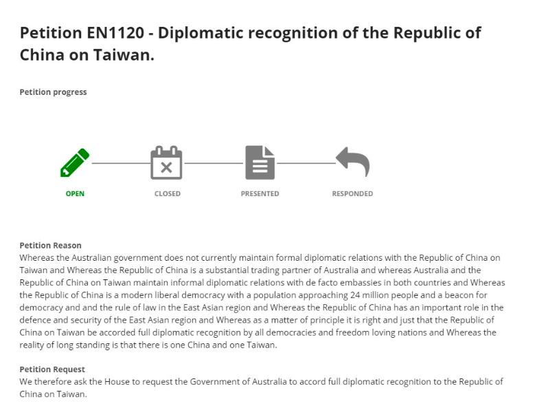 澳洲民眾向澳洲國會請願,要求澳洲政府給予中華民國在台灣正式外交承認,獲得逾5000人連署。(圖取自澳洲眾議院請願網站aph.gov.au)